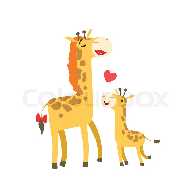 800x800 Giraffe Mom With Lipstick Animal Parent And Its Baby Calf