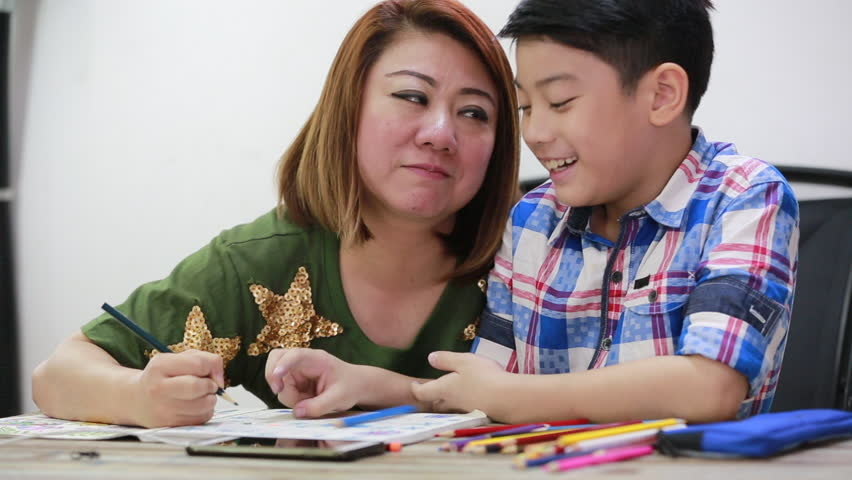 852x480 Happy Asian Family Boy And Parent Drawing Together Stock Footage