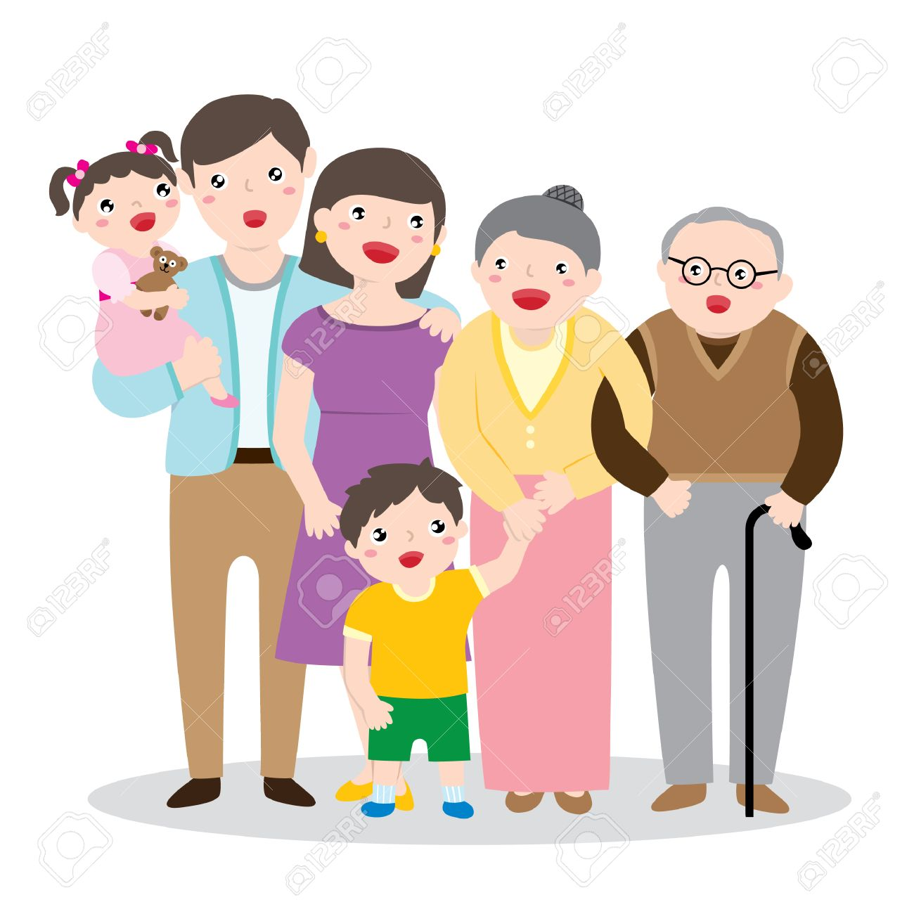 1300x1300 Drawing Of A Big Happy Family Portrait With Parents, Children
