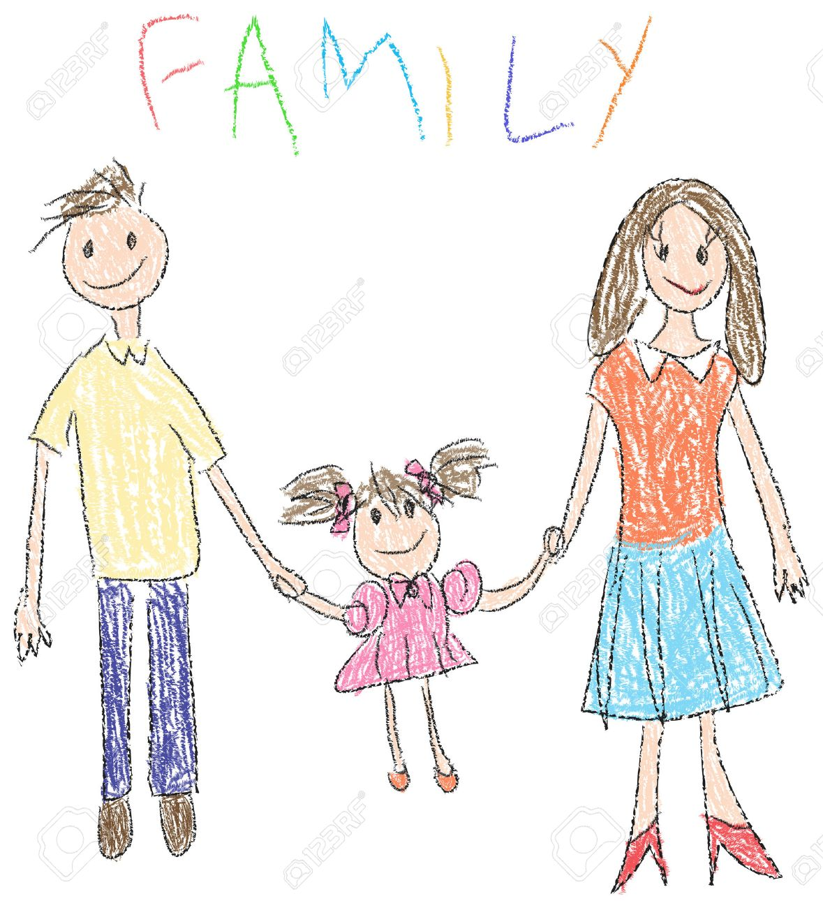 1179x1300 Drawing Of A Happy Familiy With Child And Her Parents