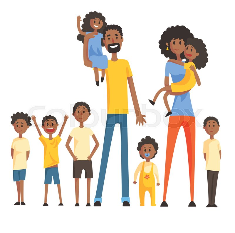 800x796 Happy Black Family With Many Children Portrait With All The Kids