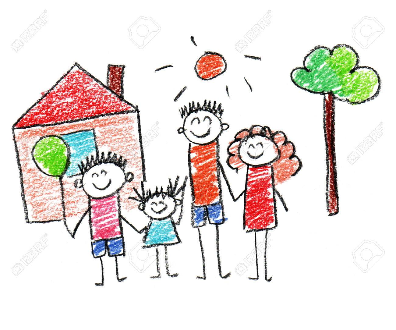 1300x1083 Happy Parents And Children Naive Kids Drawing Stock Photo, Picture