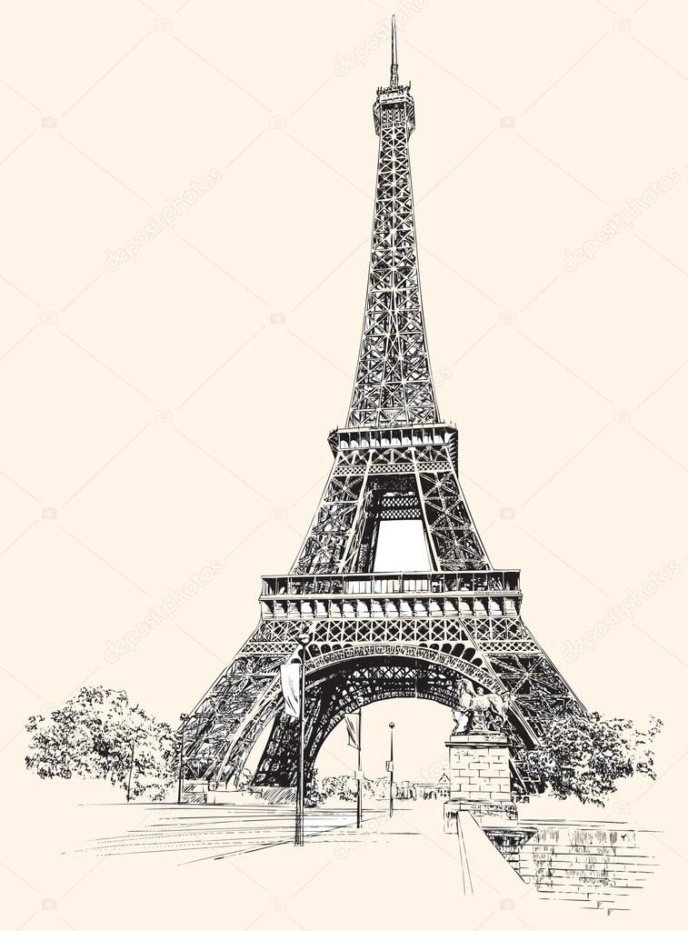 757x1024 Eiffel Tower, Paris, France. Hand drawing, vector illustration