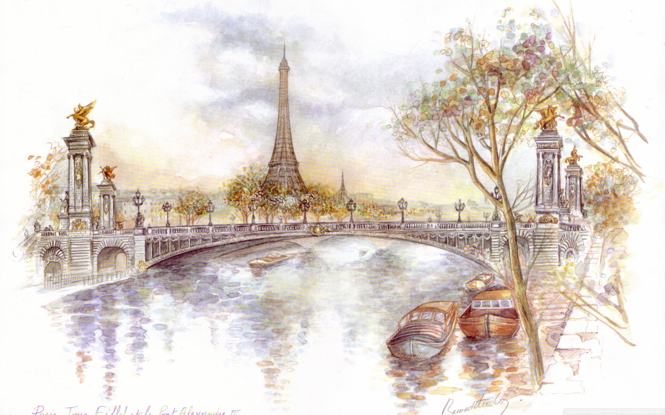 2560x1600 Paris Drawing 4k Hd Desktop Wallpaper For 4k Ultra Hd Tv