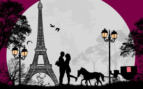 600x375 Romance in Paris Drawing widescreen wallpaper Wide Wallpapers.NET
