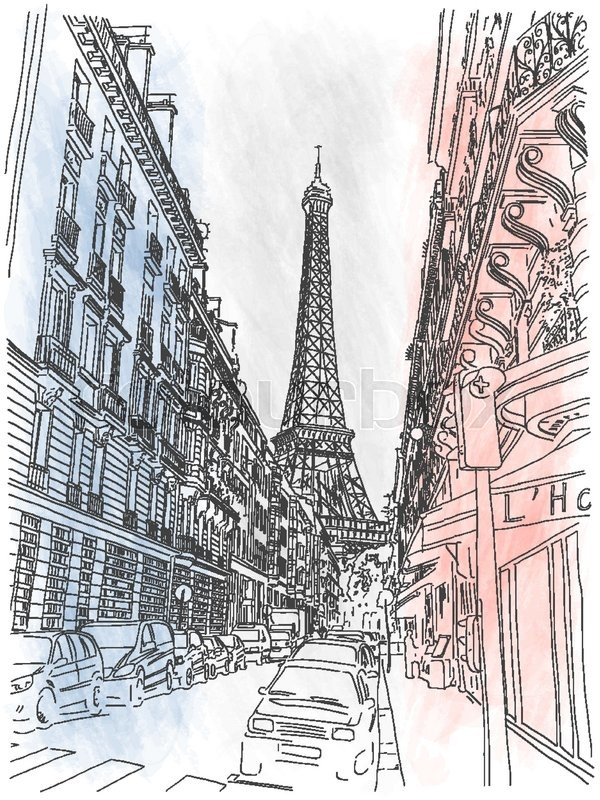 600x800 Street of the city of Paris and view on Eiffel Tower on the