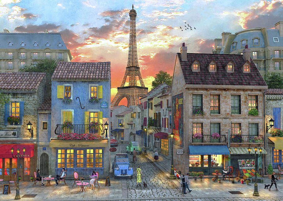 900x642 Streets Of Paris Drawing by Dominic Davison