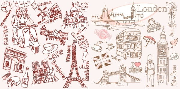 599x296 Vector line drawing of paris and london Free vector in