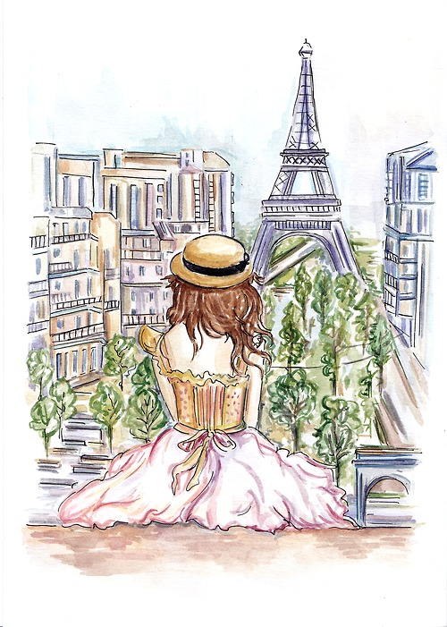 500x701 art, cute, drawing, frace, girl, paris, woman
