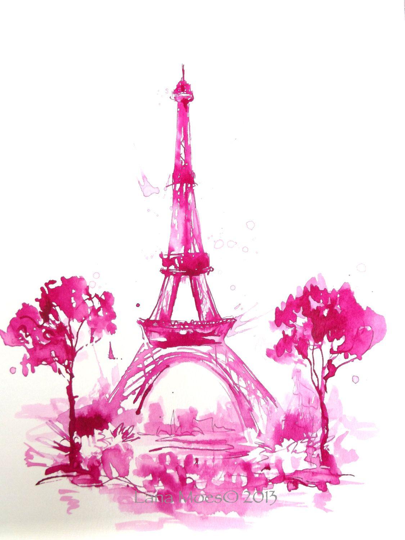 1125x1500 Eiffel Tower Print, Paris Illustration, Pink Paris, Paris In Bloom