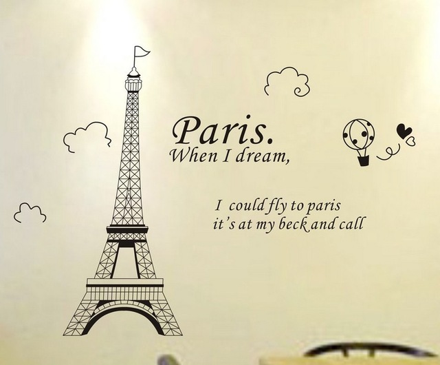 640x530 Fashion Paris Eiffel Tower Removable Vinyl Art Quotes Wall Sticker