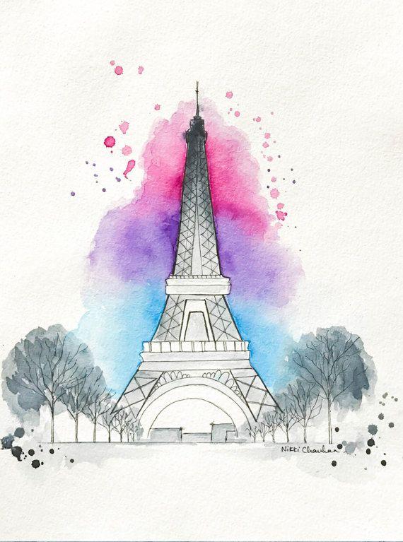 570x767 Original Eiffel Tower Watercolor Painting, Paris Illustration