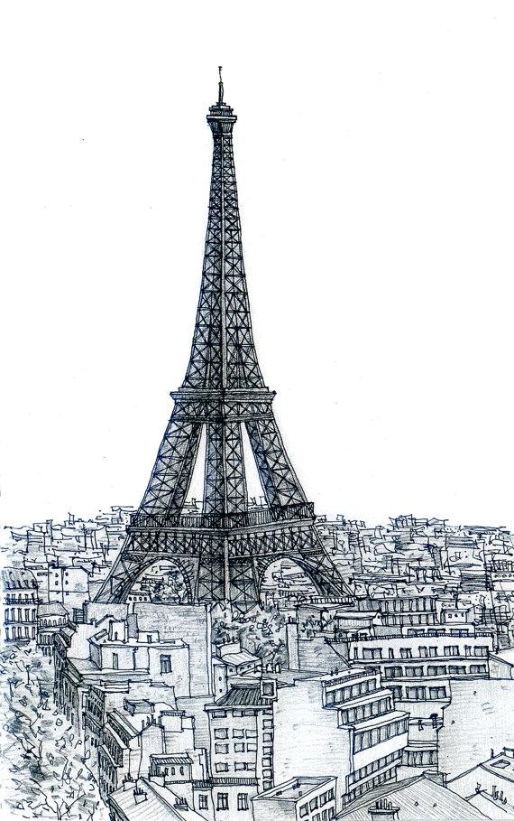 570x909 Paris Eiffel Tower Sketch 3 By Sketchmodern On Etsy Beautiful