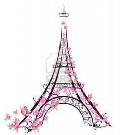 236x264 Pink Eiffel Tower Watercolor Paris Original Illustration Paris