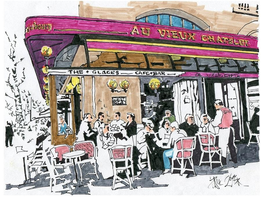 900x679 Au Vieux Chatelet Paris France Drawing By Paul Guyer
