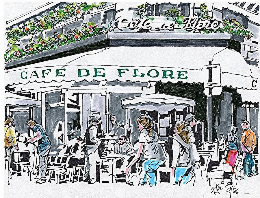 900x684 Cafe De Flore Paris France Drawing By Paul Guyer