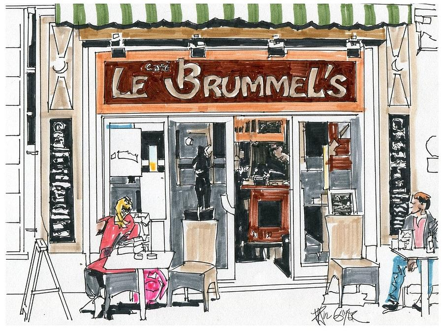 900x675 Cafe Le Brumel's Paris France Drawing By Paul Guyer