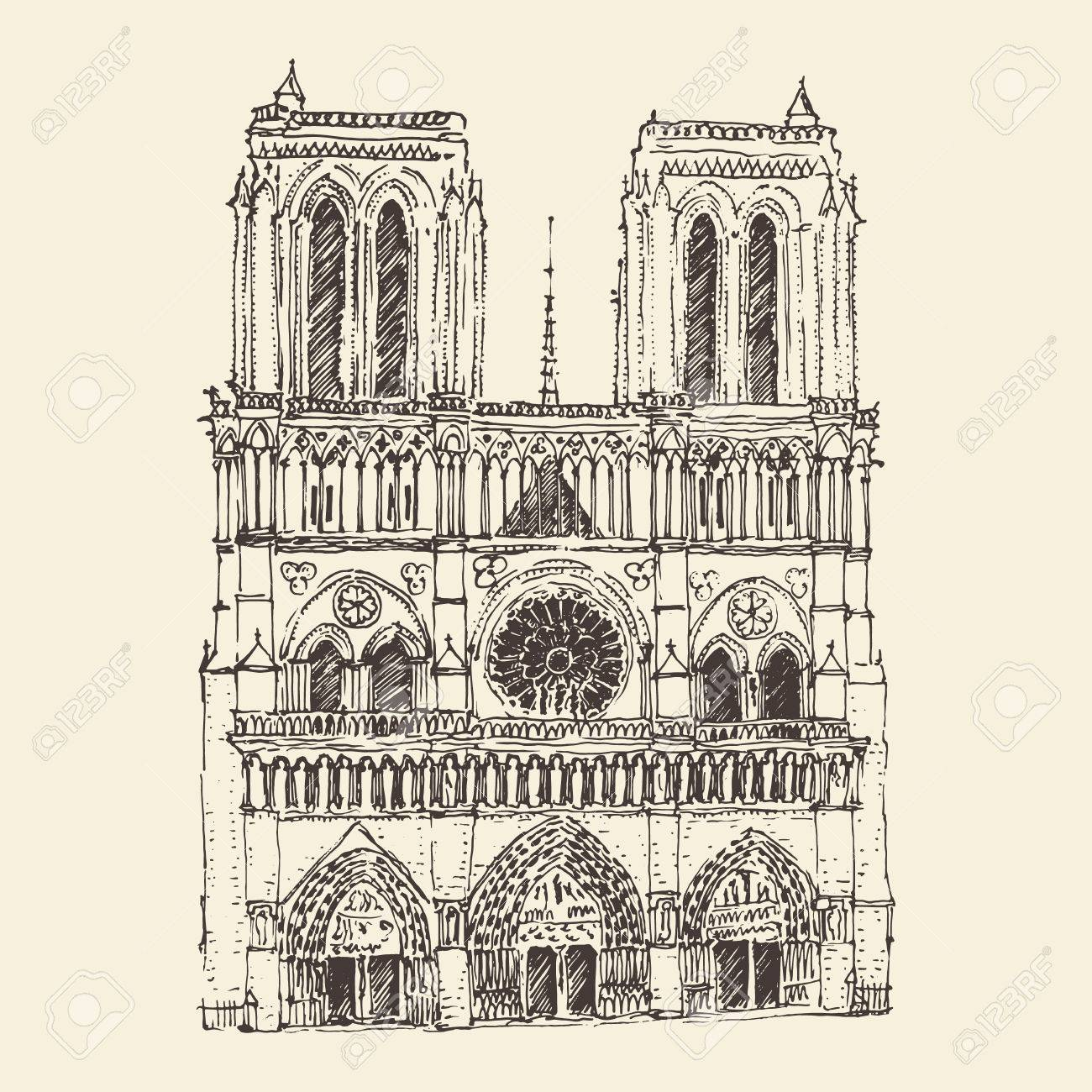 1300x1300 Cathedral Of Notre Dame De Paris France Vintage Engraved