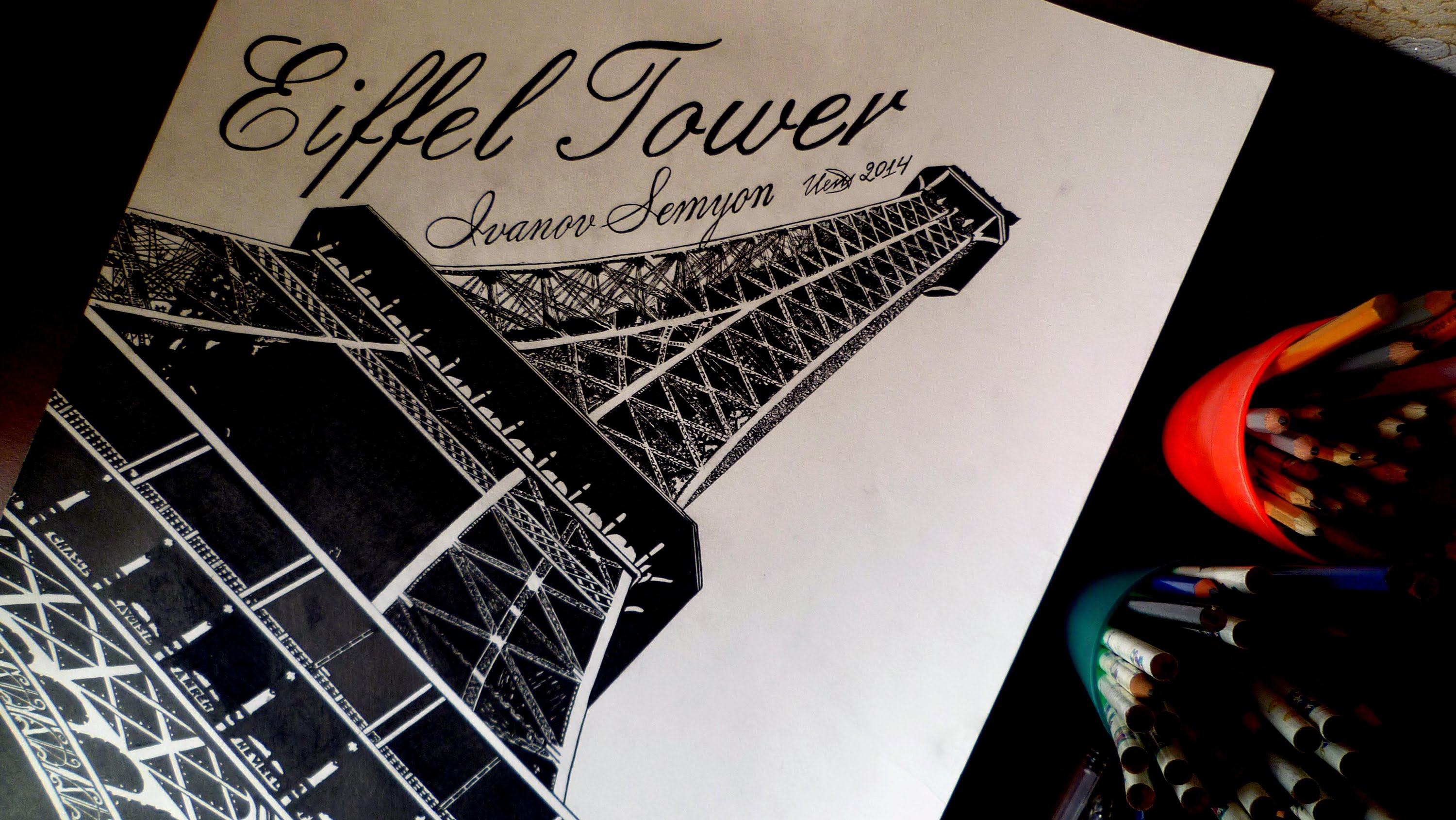 3000x1689 Eiffel Tower. Paris, France Drawing Isp 2014