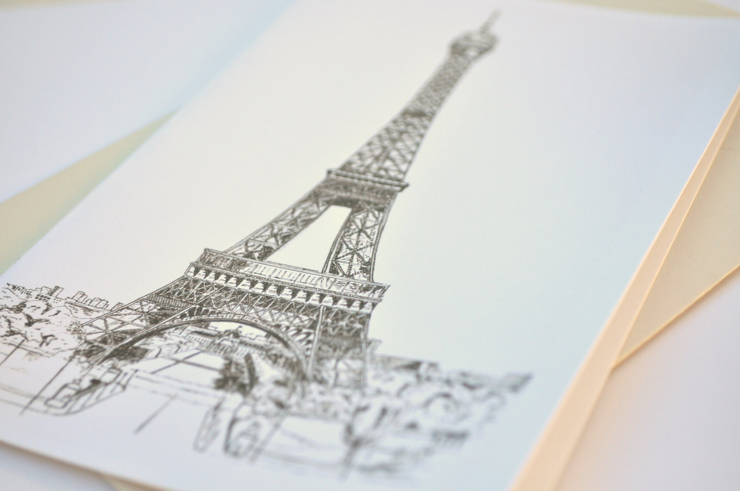 1500x996 Eiffel Tower Blank Greeting Card Paris France Original Art
