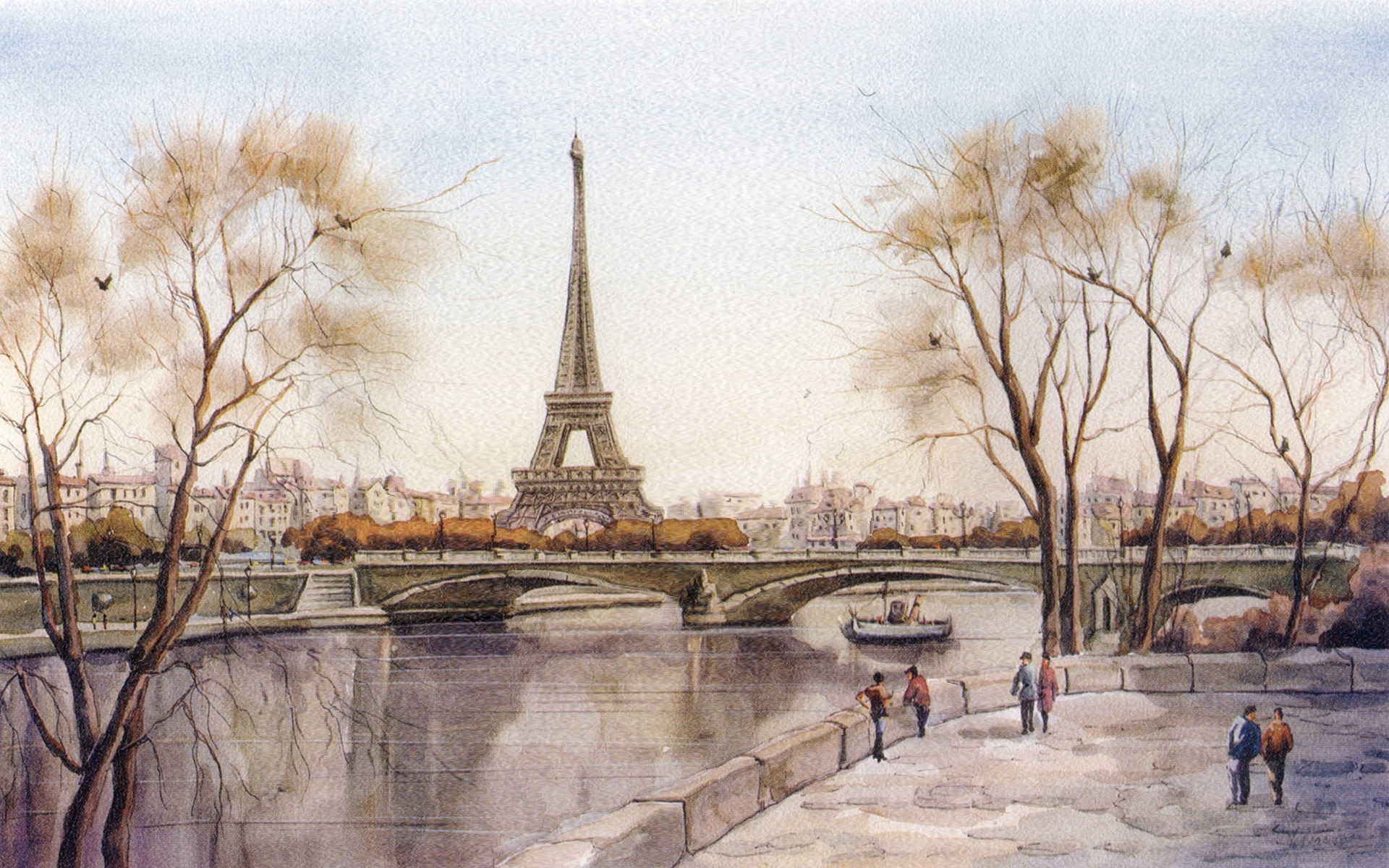 1920x1200 Paris Landscape Drawing Wallpaper France, Drawing, Bridge, Eiffel