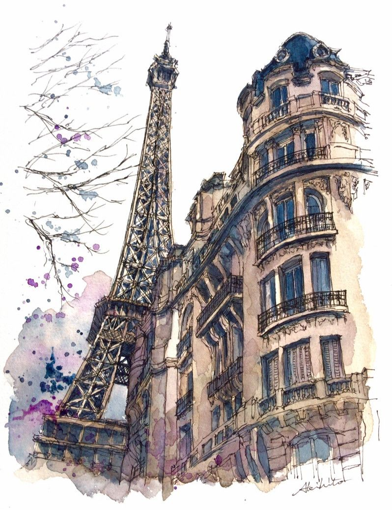 798x1036 The Eiffel Tower, Paris, France. Travelling, Drawing And Painting