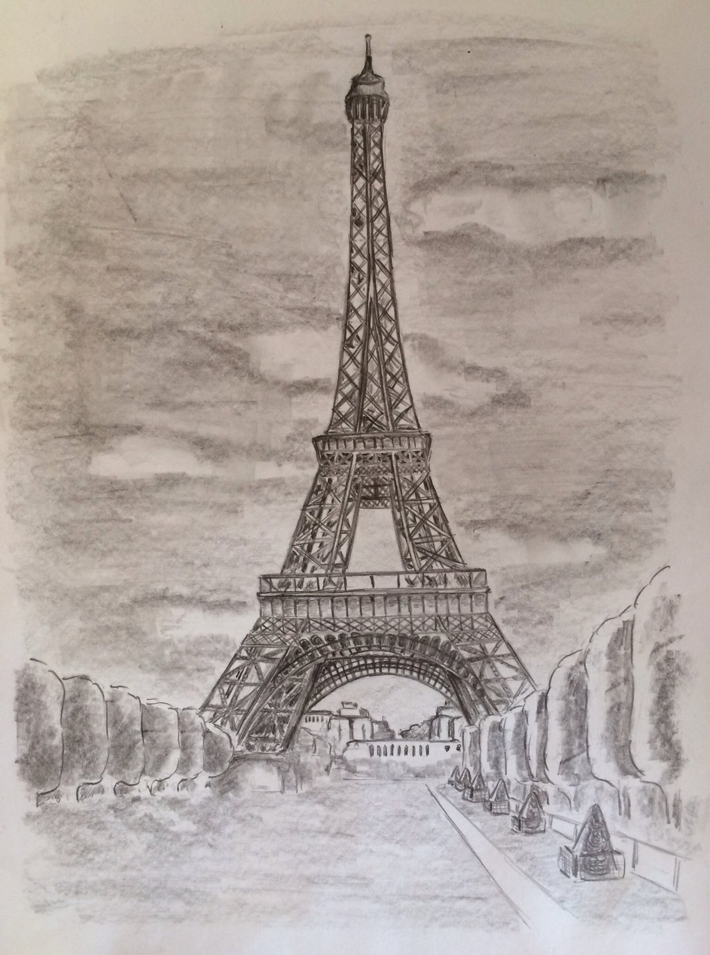 1024x1377 Tour Eiffel Tower Paris France Black White Drawing By Clarap