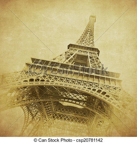 450x470 Vintage Image Of Eiffel Tower, Paris, France Drawing