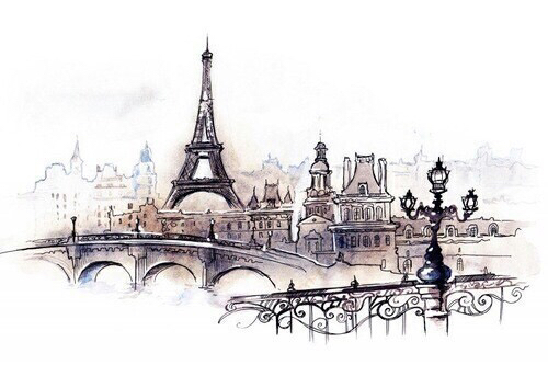 500x333 Art, City, Draw, Drawing, Eiffel Tower, France, Inspiration, Love