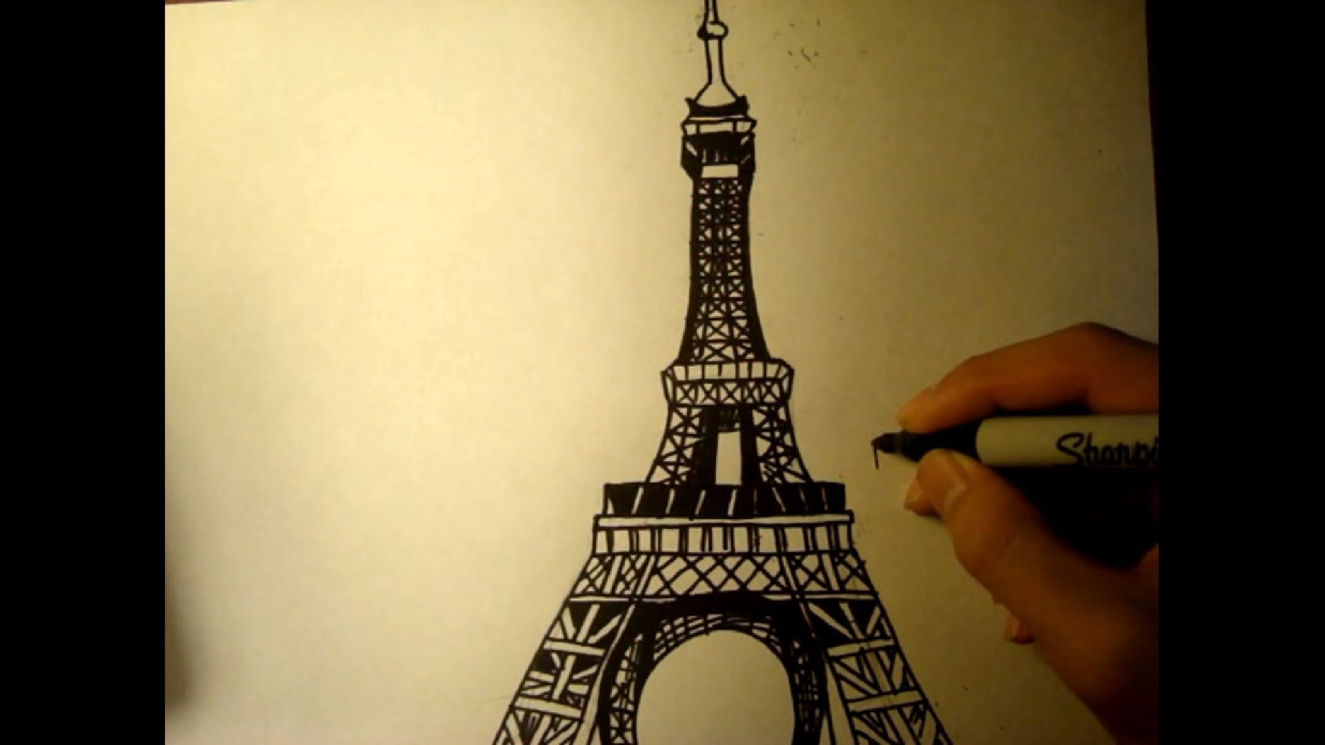 1920x1080 Free Drawing Lesson How To Draw The Eiffel Tower Easy Simple