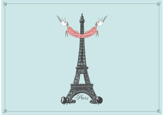 700x490 Free Hand Drawn Eiffel Tower Vector Background