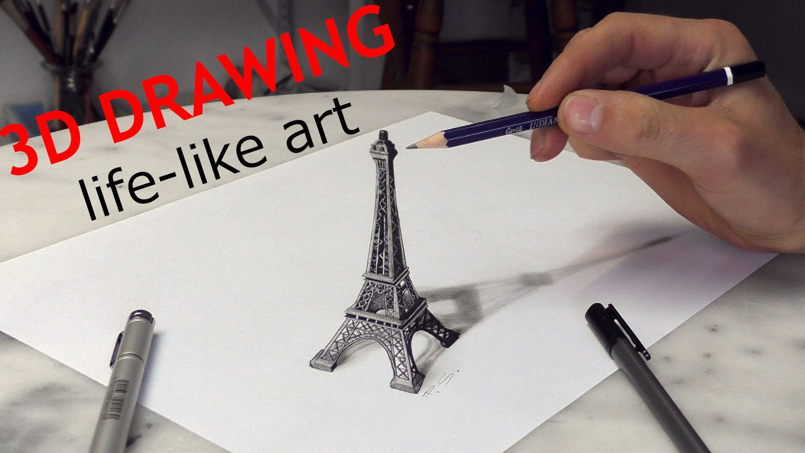 1647x927 Paris Eiffel Tower 3d Drawing Optical Illusion Paris