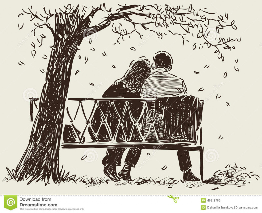 1105x898 Couple On The Bench Stock Vector. Image Of View, Pair