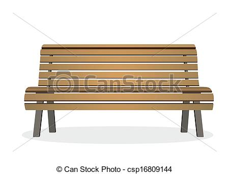450x342 Frontal View Of A Wooden Park Bench Drawing