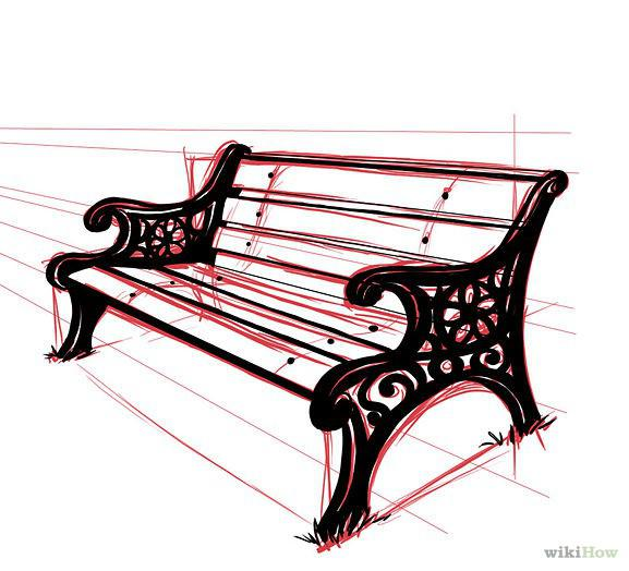 577x524 How To Draw A Park Bench Perspektif Drawings