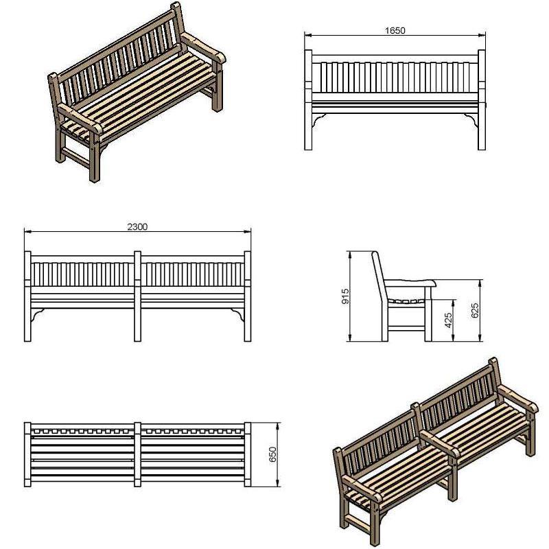800x800 Memorial Park Bench
