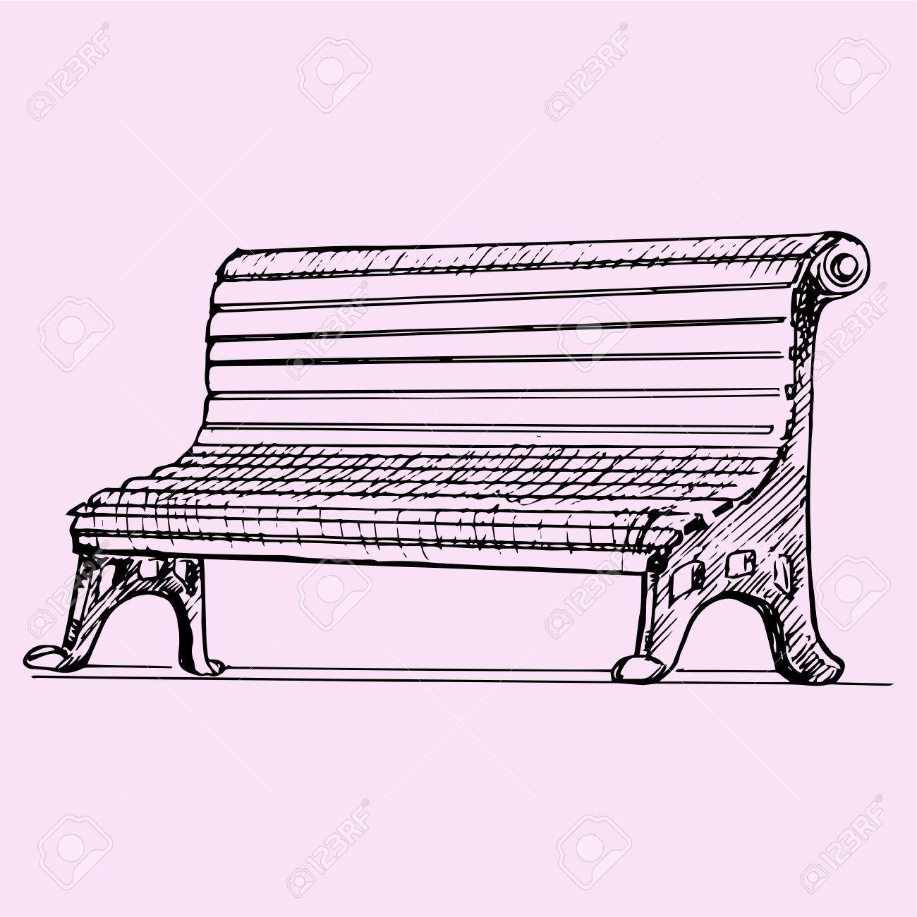 1300x1300 Park Bench, Doodle Style, Sketch Illustration Royalty Free
