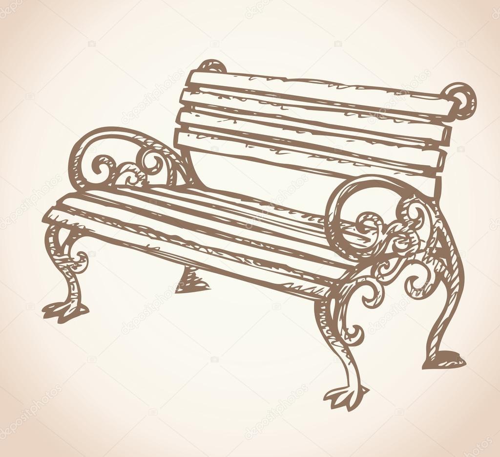 1024x935 Park Bench. Vector Drawing Stock Vector Marinka