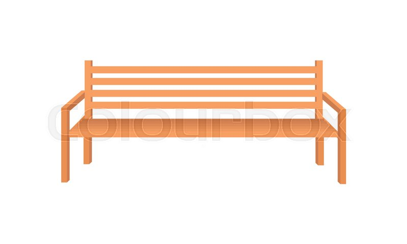 800x480 Wooden Park Bench. Brown Wooden Bench Icon. One Isolated Outdoor