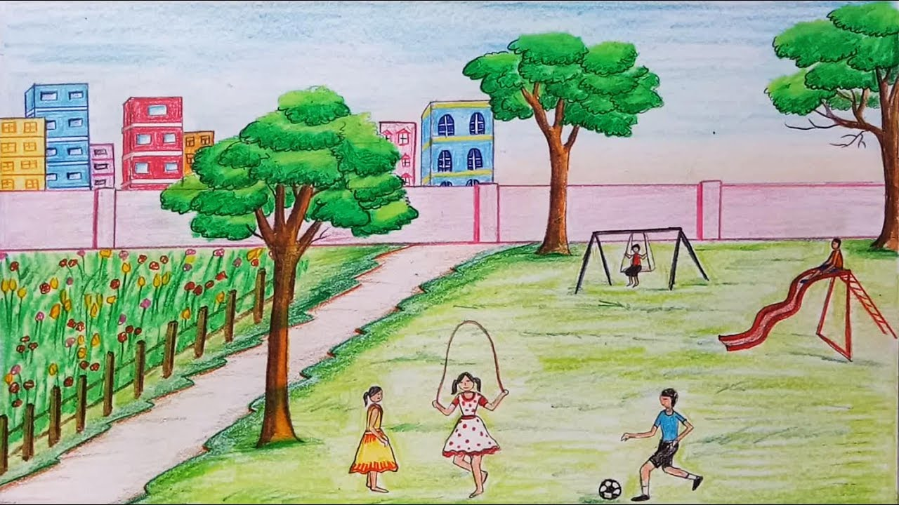 1280x720 How To Draw Scenery Of Children's Play Step By Step