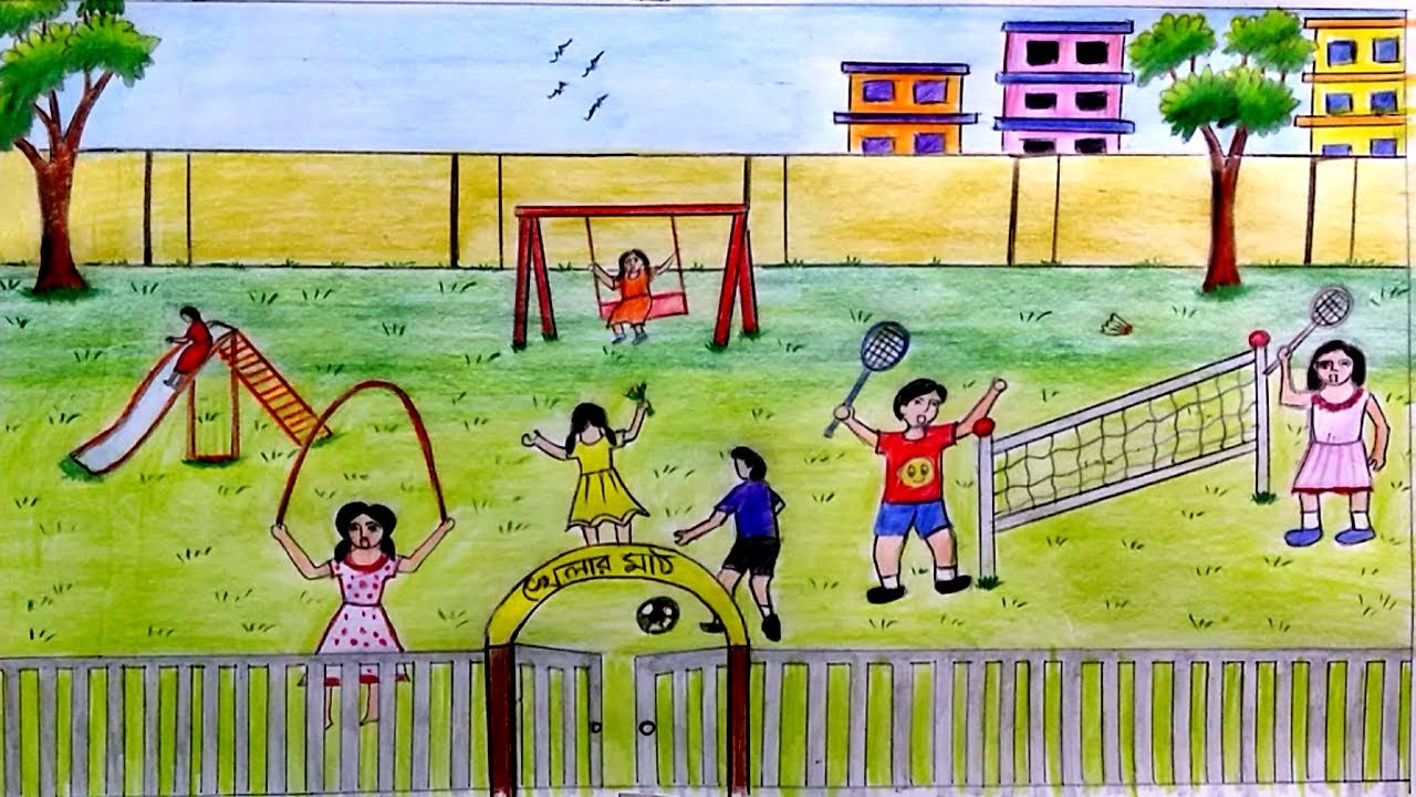 1280x720 How To Draw Scenery Of Children's Playground Step By Step