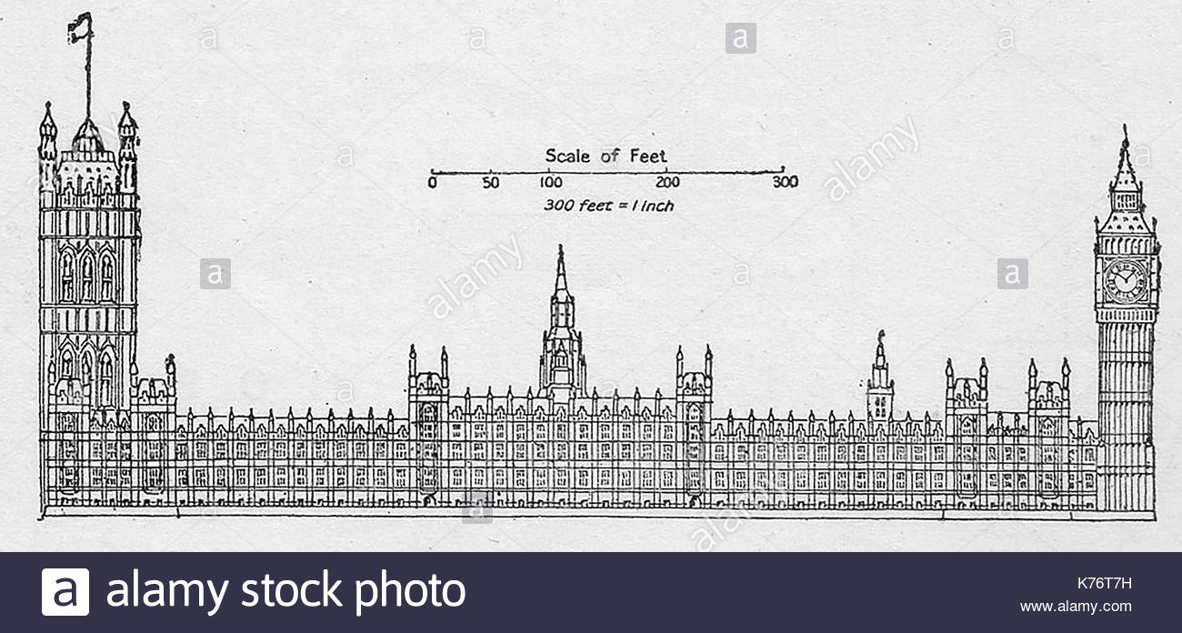 1300x696 A 1914 Drawing Of The Houses Of Parliament, (Palace Of Stock Photo