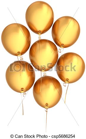 291x470 Helium Balloons Golden Flying Up. Party Balloons Total Drawing