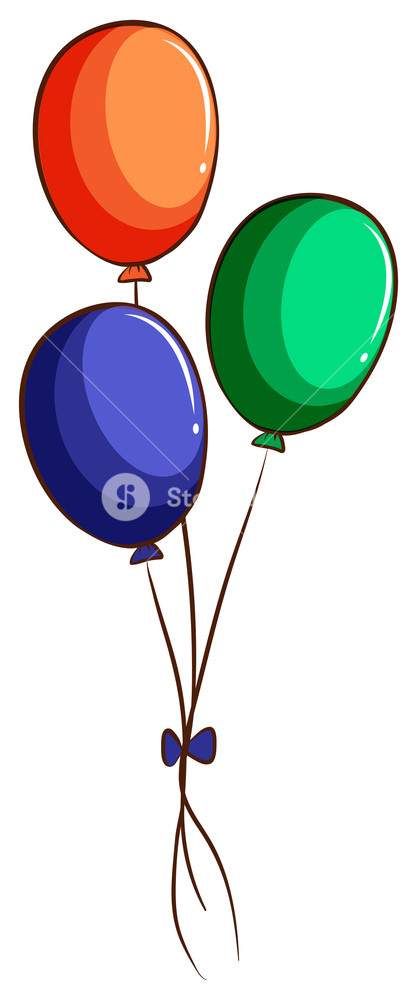 417x1000 Illustration Of A Drawing Of Three Colourful Balloons On A White
