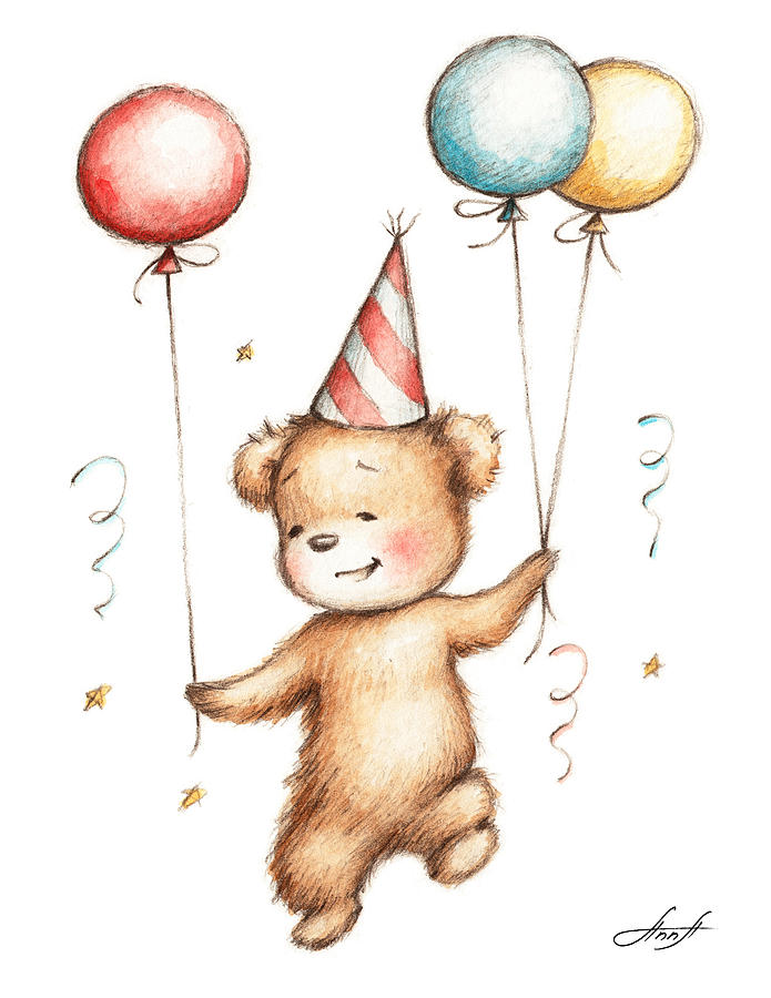 695x900 Print Of Teddy Bear With Balloons Painting By Anna Abramska