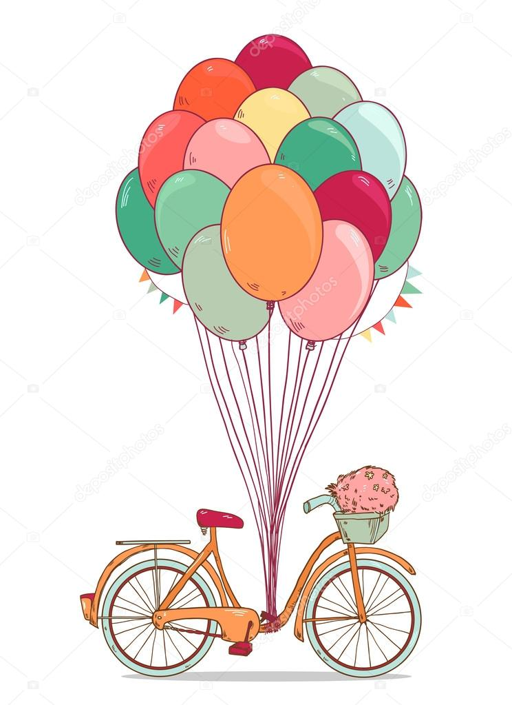 744x1023 Vintage Drawing Bike With Party Balloons,party Flags And Basket