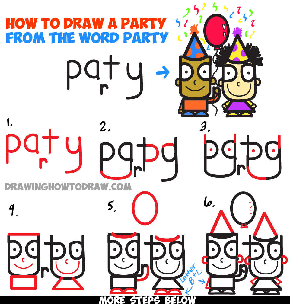 961x1007 How To Draw Cartoon Kids Partying From The Word Party In Easy