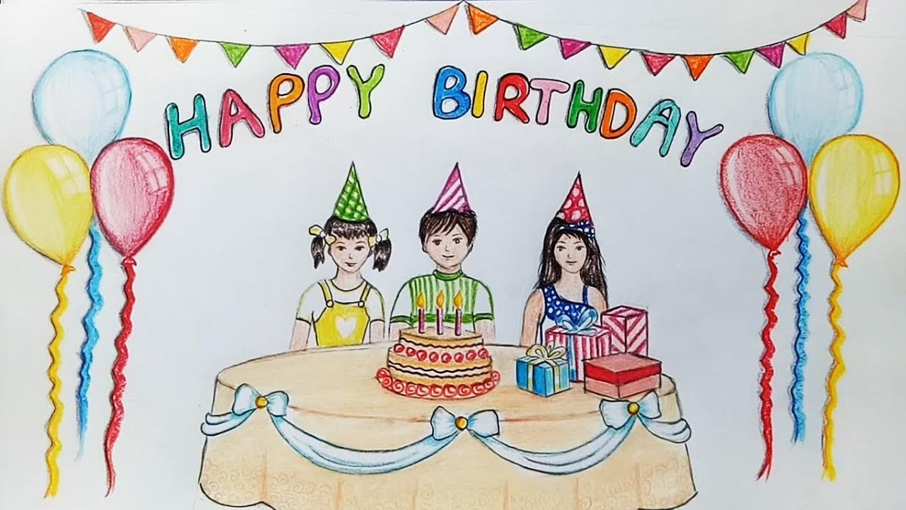 1280x720 How To Draw Scenery Of Birthday Party Step By Step