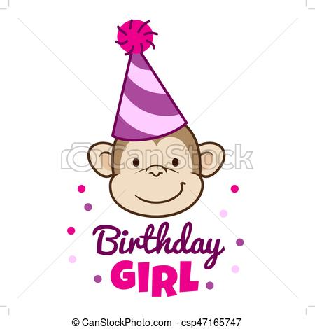 450x470 Cute Smiling Monkey Face In Party Hat. Vector Hand Drawn Eps