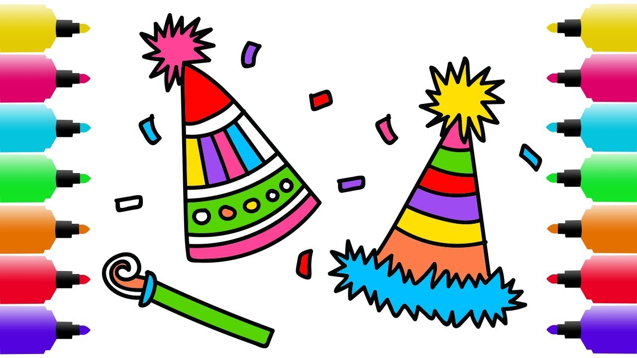 1280x720 How To Draw And Coloring Pages Birthday Party Hat Coloring